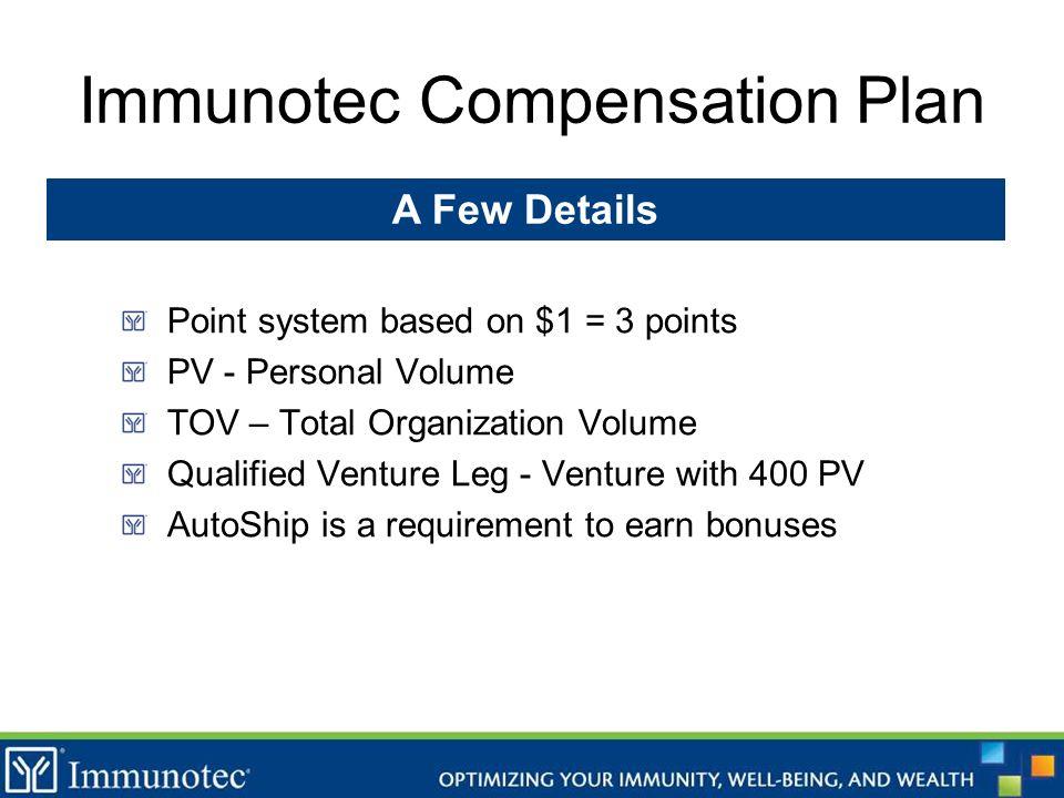 Immunotec Compensation Plan Point system based on $1 = 3 points PV - Personal Volume TOV – Total Organization Volume Qualified Venture Leg - Venture w