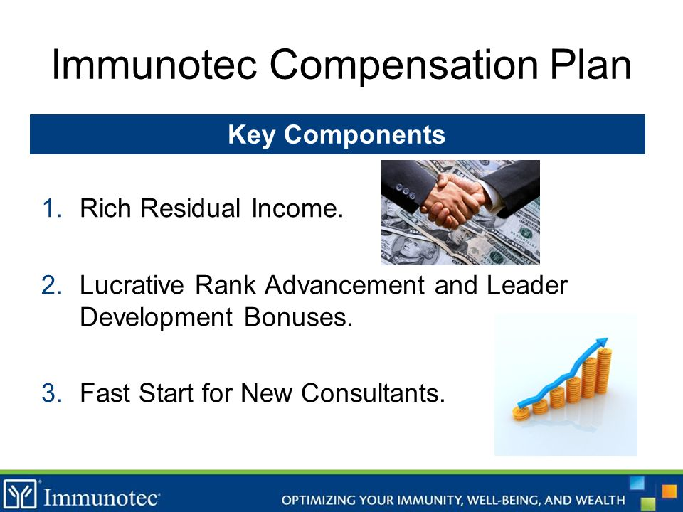 Immunotec Compensation Plan 1.Rich Residual Income. 2.Lucrative Rank Advancement and Leader Development Bonuses. 3.Fast Start for New Consultants. Key
