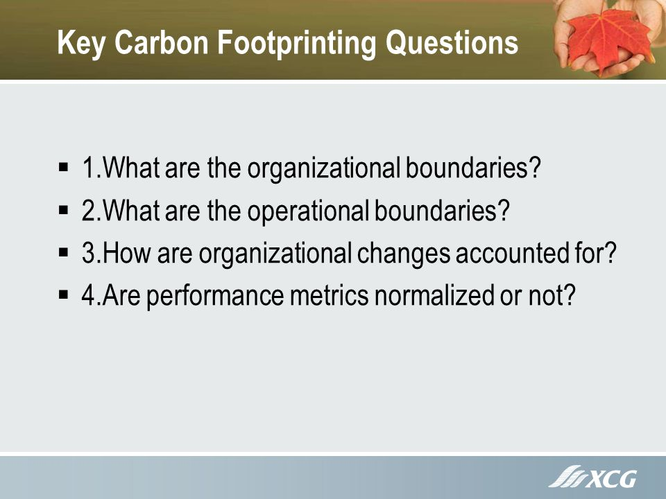 Key Carbon Footprinting Questions 1.What are the organizational boundaries.