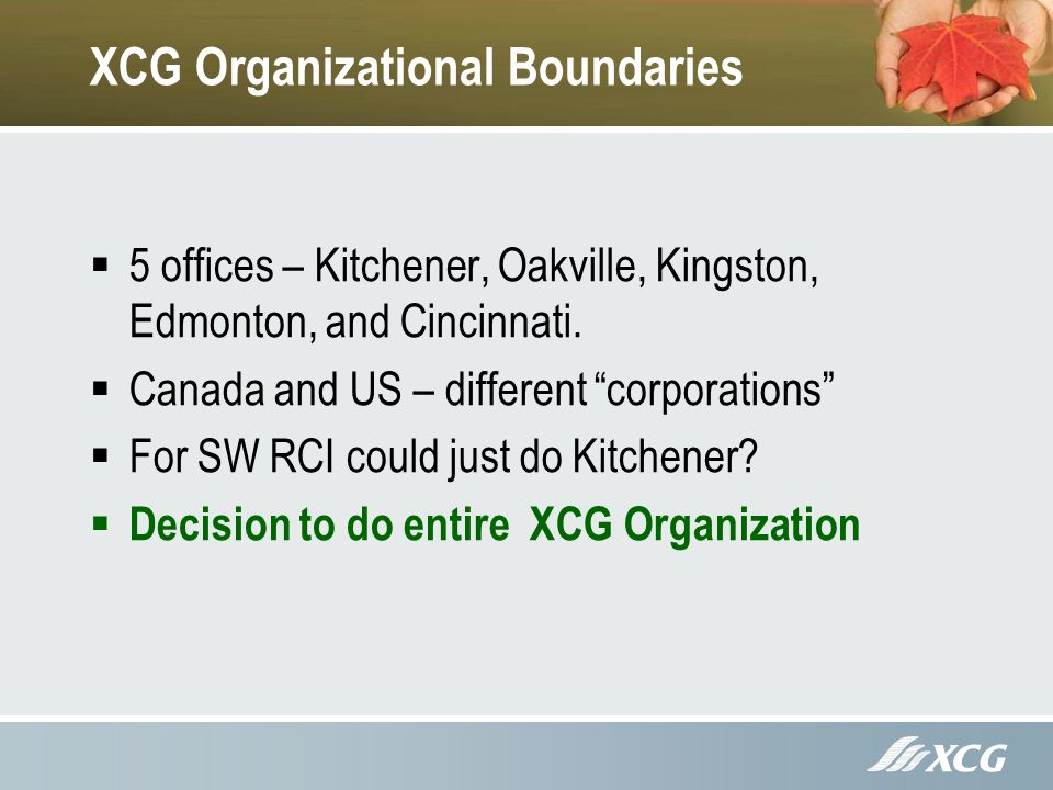 XCG Organizational Boundaries 5 offices – Kitchener, Oakville, Kingston, Edmonton, and Cincinnati.