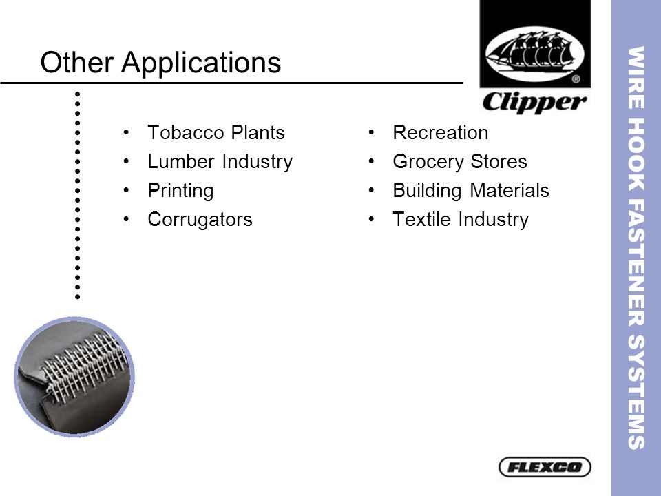 WIRE HOOK FASTENER SYSTEMS Other Applications Tobacco Plants Lumber Industry Printing Corrugators Recreation Grocery Stores Building Materials Textile