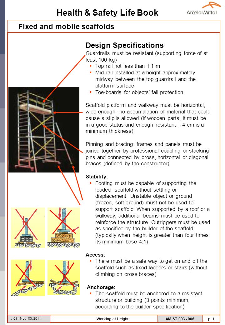 Health & Safety Life Book AM ST 003 - 006 p. 1 v.01 - Nov. 03, 2011 Working at Height Design Specifications Guardrails must be resistant (supporting f