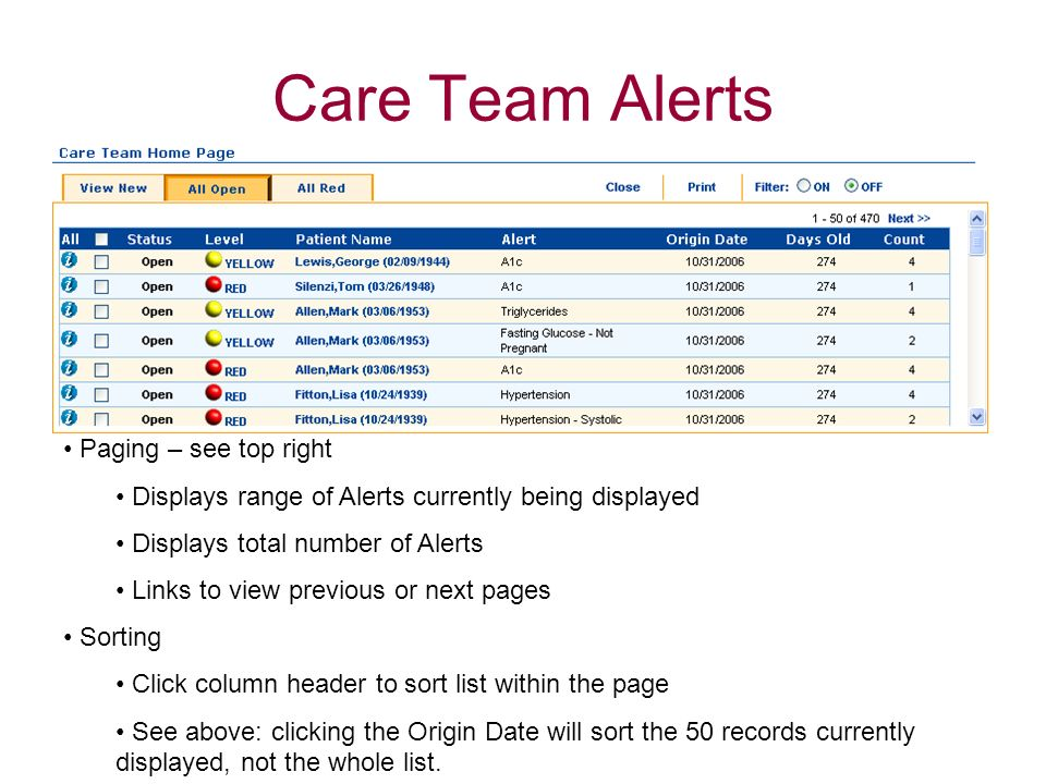 Care Team Alerts Paging – see top right Displays range of Alerts currently being displayed Displays total number of Alerts Links to view previous or n