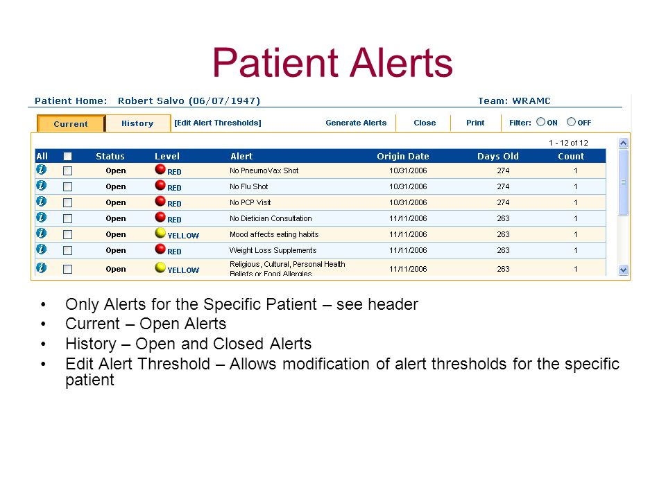 Patient Alerts Only Alerts for the Specific Patient – see header Current – Open Alerts History – Open and Closed Alerts Edit Alert Threshold – Allows