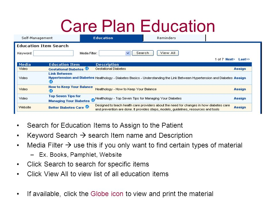 Care Plan Education Search for Education Items to Assign to the Patient Keyword Search search Item name and Description Media Filter use this if you o