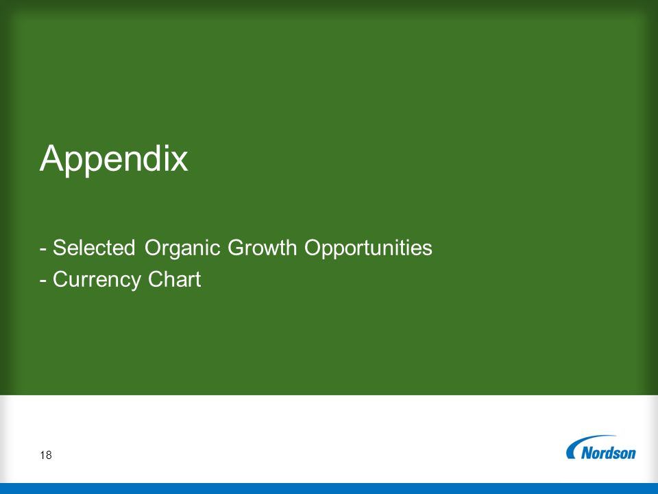 Appendix - Selected Organic Growth Opportunities - Currency Chart 18