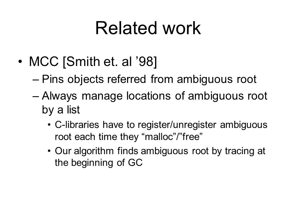 Related work MCC [Smith et.
