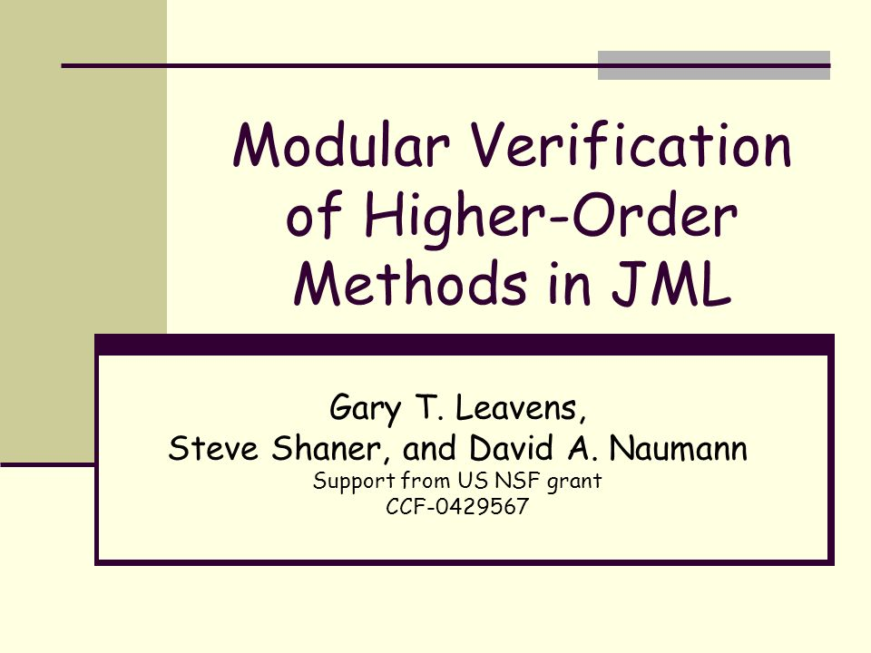 Modular Verification of Higher-Order Methods in JML Gary T.