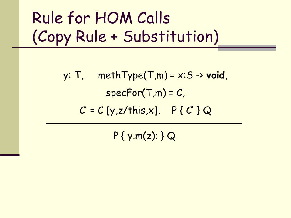 Rule for HOM Calls (Copy Rule + Substitution) P { y.m(z); } Q y: T, methType(T,m) = x:S -> void, specFor(T,m) = C, C = C [y,z/this,x], P { C } Q