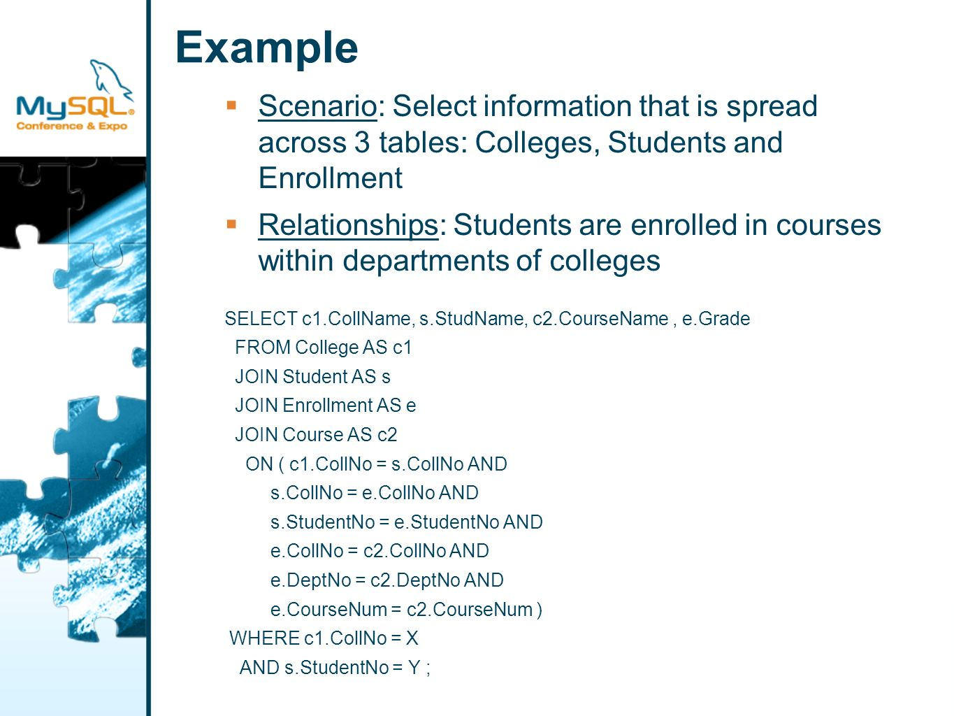 Example Scenario: Select information that is spread across 3 tables: Colleges, Students and Enrollment Relationships: Students are enrolled in courses