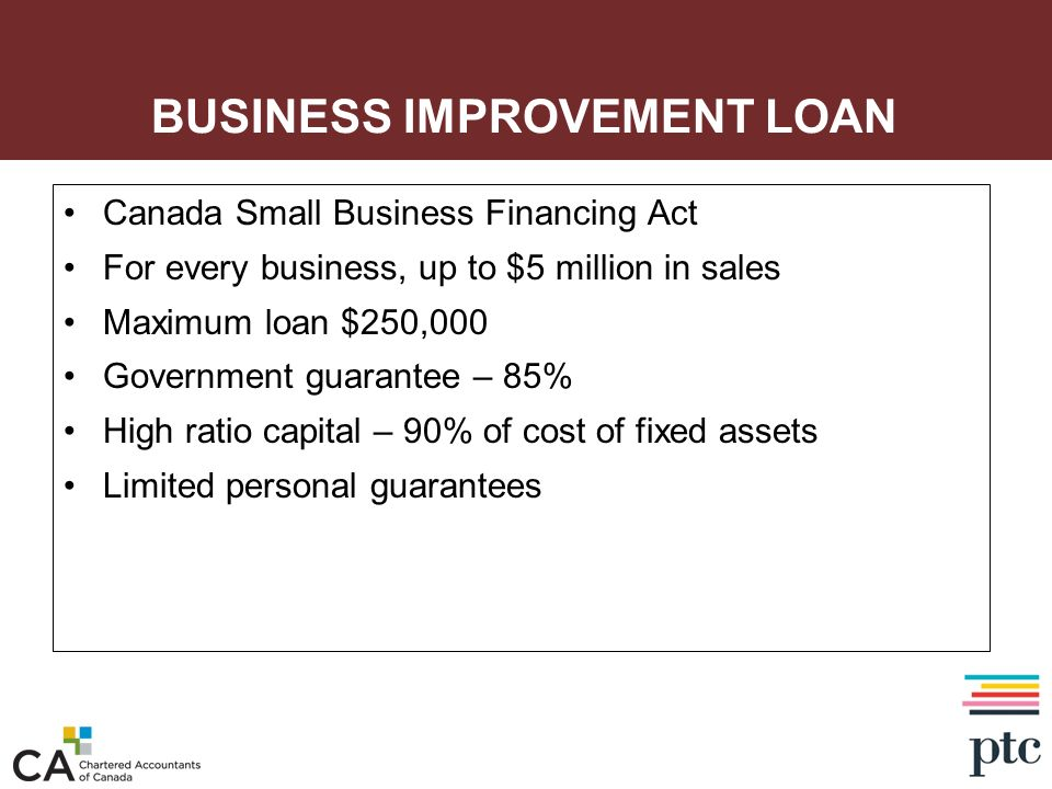 BUSINESS IMPROVEMENT LOAN Canada Small Business Financing Act For every business, up to $5 million in sales Maximum loan $250,000 Government guarantee
