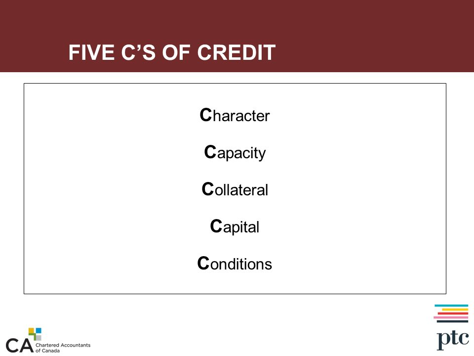 FIVE CS OF CREDIT C haracter C apacity C ollateral C apital C onditions