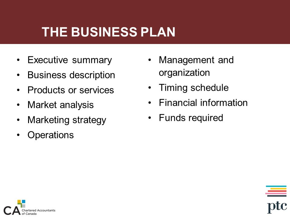 THE BUSINESS PLAN Executive summary Business description Products or services Market analysis Marketing strategy Operations Management and organizatio