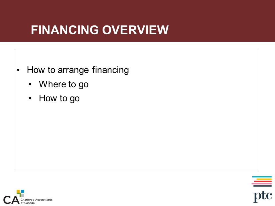 FINANCING OVERVIEW How to arrange financing Where to go How to go
