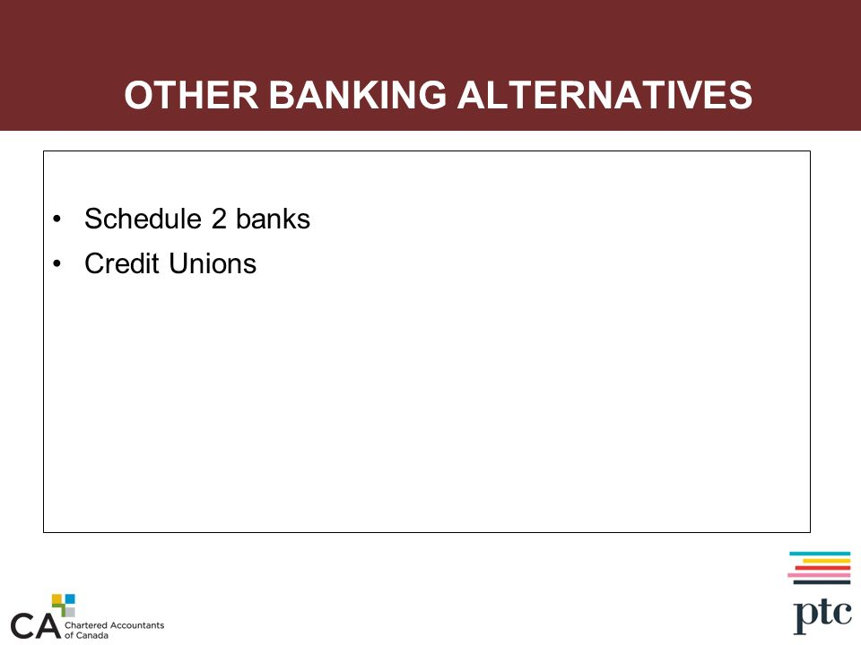 OTHER BANKING ALTERNATIVES Schedule 2 banks Credit Unions