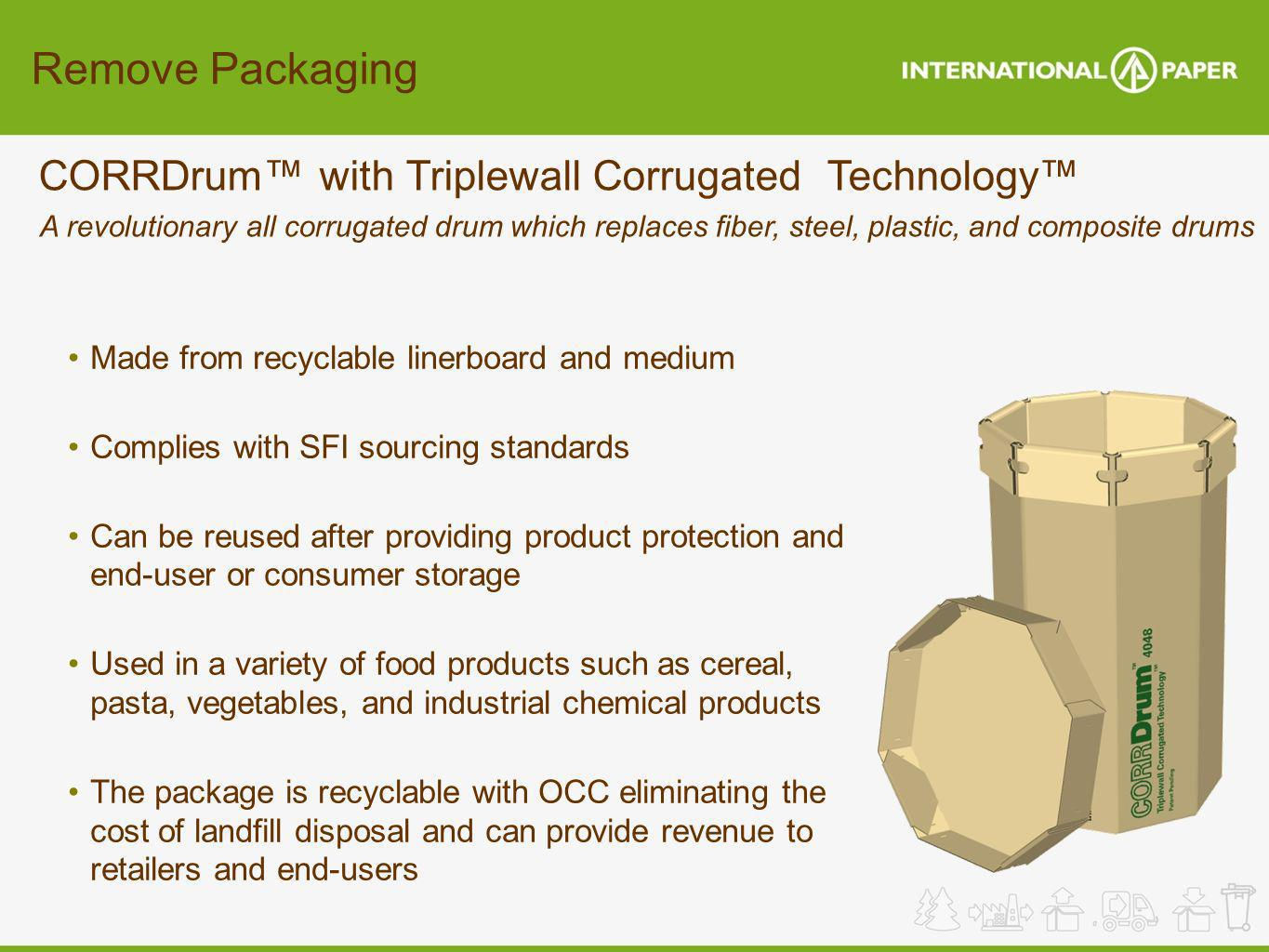 Remove Packaging CORRDrum with Triplewall Corrugated Technology A revolutionary all corrugated drum which replaces fiber, steel, plastic, and composit