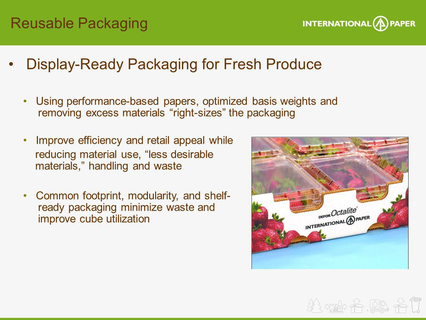 Reusable Packaging Display-Ready Packaging for Fresh Produce Common footprint, modularity, and shelf- ready packaging minimize waste and improve cube