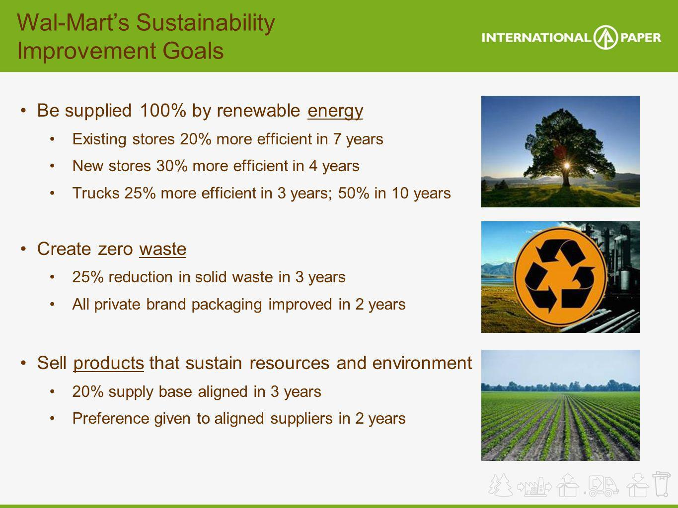 Wal-Marts Sustainability Improvement Goals Be supplied 100% by renewable energy Existing stores 20% more efficient in 7 years New stores 30% more effi