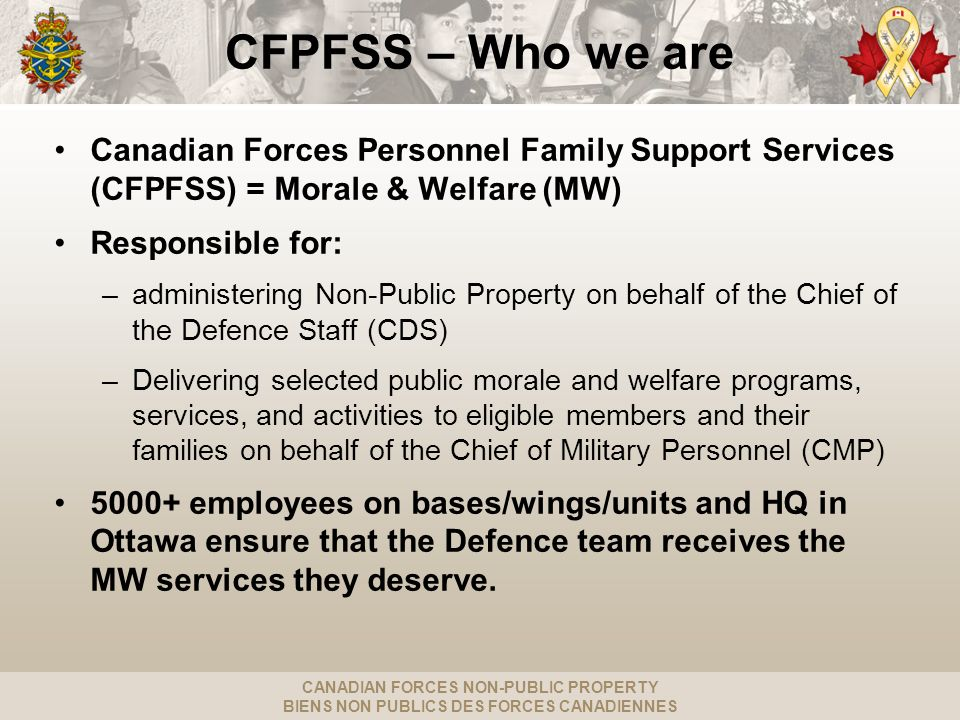CANADIAN FORCES NON-PUBLIC PROPERTY BIENS NON PUBLICS DES FORCES CANADIENNES CFPFSS – Who we are Canadian Forces Personnel Family Support Services (CF