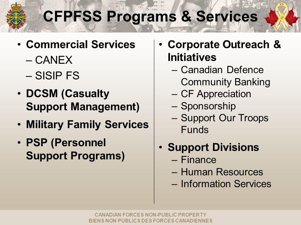 CANADIAN FORCES NON-PUBLIC PROPERTY BIENS NON PUBLICS DES FORCES CANADIENNES Scale of Operations Total $713M (19.5% Public / 80.5 % Non-Public) Public Funds SISIP Financial Services ($280M) CANEX Retail ($52M) Messes ($24M) Base / Wing / Reserve Unit Funds ($77M) C108 ($25M) C109 ($88M) Central Fund ($124M) Assistance Fund CFPAF ($17M) DCSM ($26M) NPP net worth / publicly funded expenditures FY2011-12 } CANEX 2011-12 Revenues: $135M SISIP FS 2011-12 Revenues: $77M