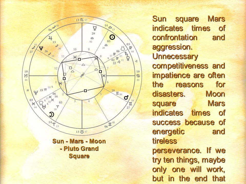 Sun - Mars - Moon - Pluto Grand Square Sun square Mars indicates times of confrontation and aggression. Unnecessary competitiveness and impatience are