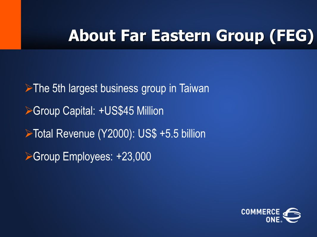 About Far Eastern Group (FEG) The 5th largest business group in Taiwan Group Capital: +US$45 Million Total Revenue (Y2000): US$ +5.5 billion Group Employees: +23,000