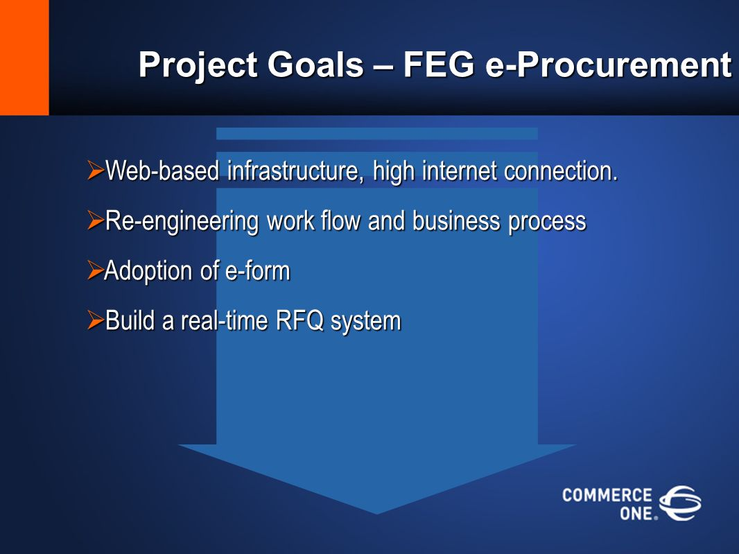 Project Goals – FEG e-Procurement Web-based infrastructure, high internet connection.