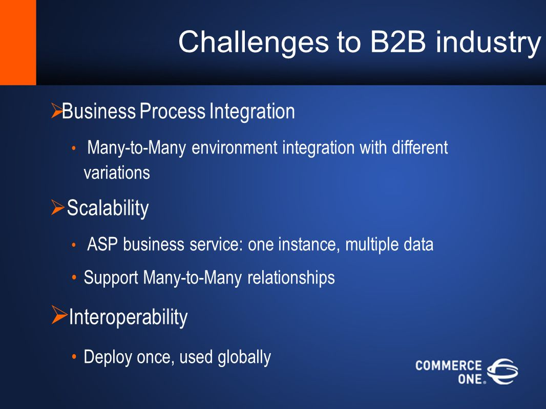 Challenges to B2B industry Business Process Integration Many-to-Many environment integration with different variations Scalability ASP business service: one instance, multiple data Support Many-to-Many relationships Interoperability Deploy once, used globally