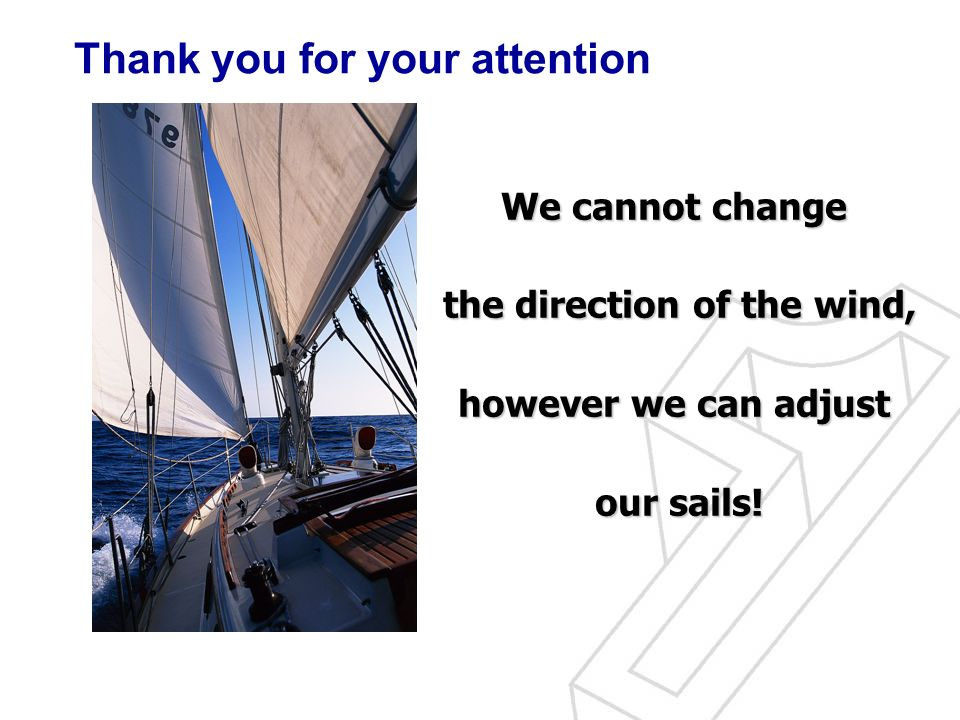 We cannot change the direction of the wind, however we can adjust our sails.