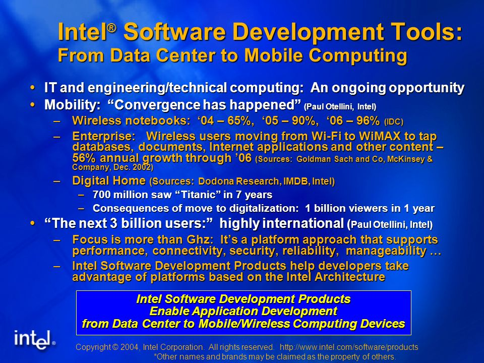 Copyright © 2004, Intel Corporation. All rights reserved.