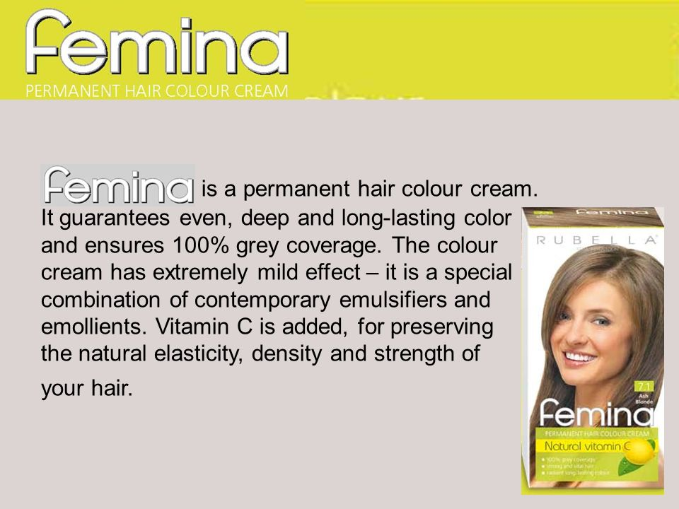 Femina is a permanent hair colour cream. It guarantees even, deep and long-lasting color and ensures 100% grey coverage. The colour cream has extremel