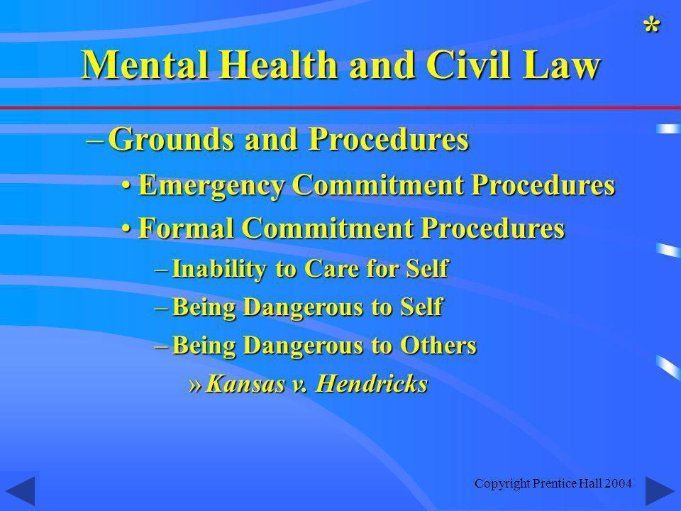 Copyright Prentice Hall 2004 –Grounds and Procedures Emergency Commitment ProceduresEmergency Commitment Procedures Formal Commitment ProceduresFormal
