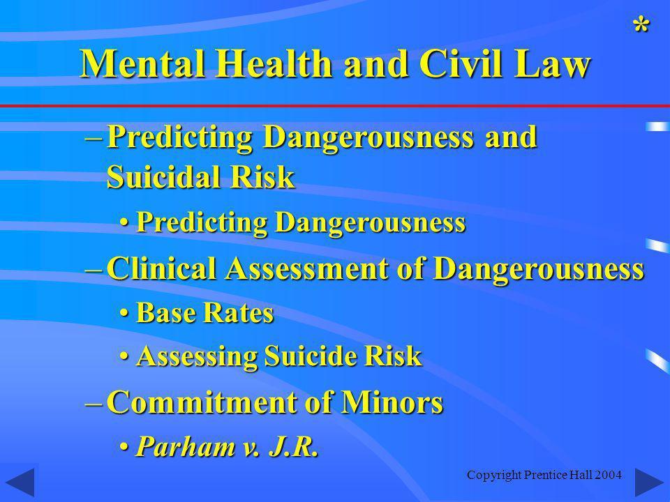 Copyright Prentice Hall 2004 –Predicting Dangerousness and Suicidal Risk Predicting DangerousnessPredicting Dangerousness –Clinical Assessment of Dang