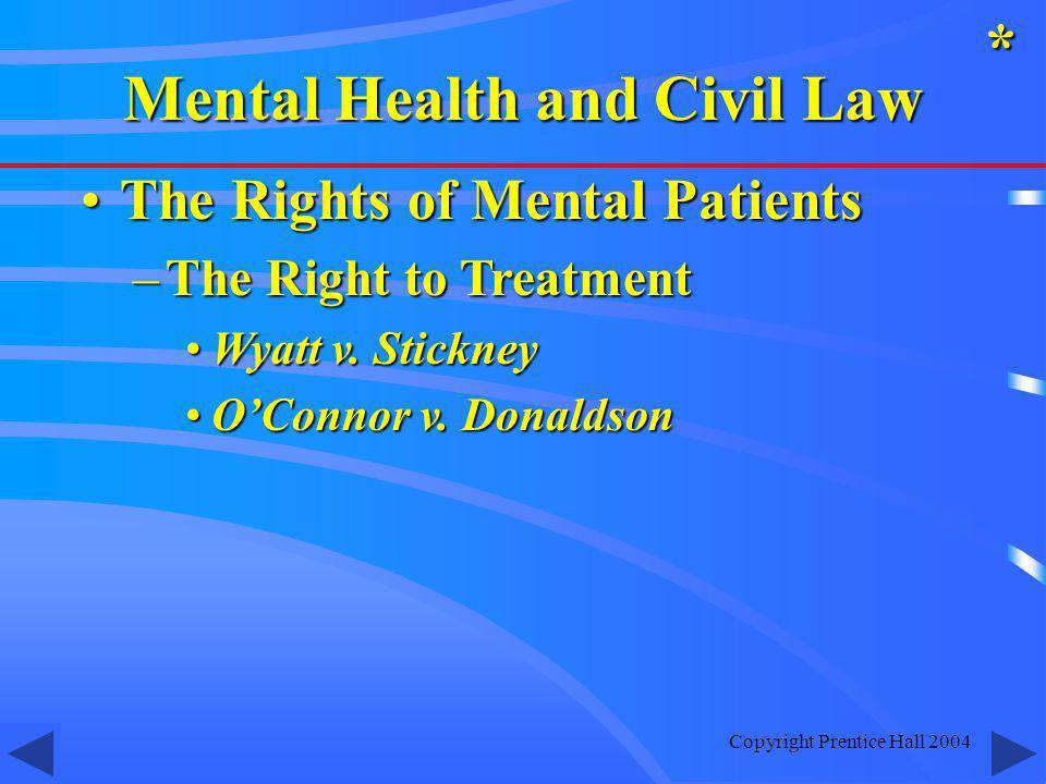 Copyright Prentice Hall 2004 The Rights of Mental PatientsThe Rights of Mental Patients –The Right to Treatment Wyatt v. StickneyWyatt v. Stickney OCo