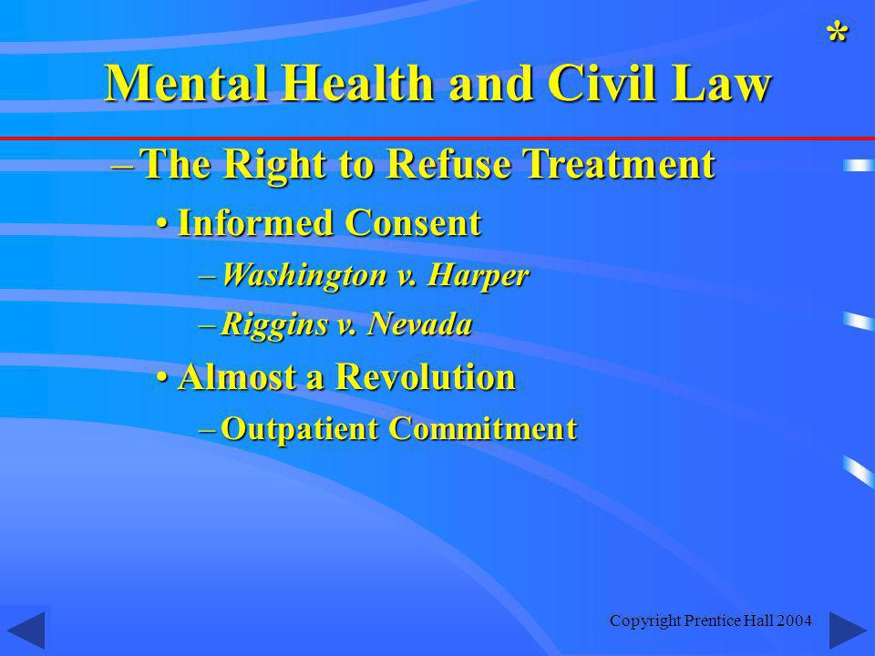 Copyright Prentice Hall 2004 –The Right to Refuse Treatment Informed ConsentInformed Consent –Washington v.
