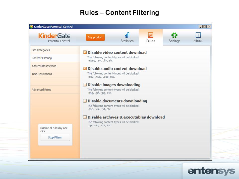 Rules – Content Filtering