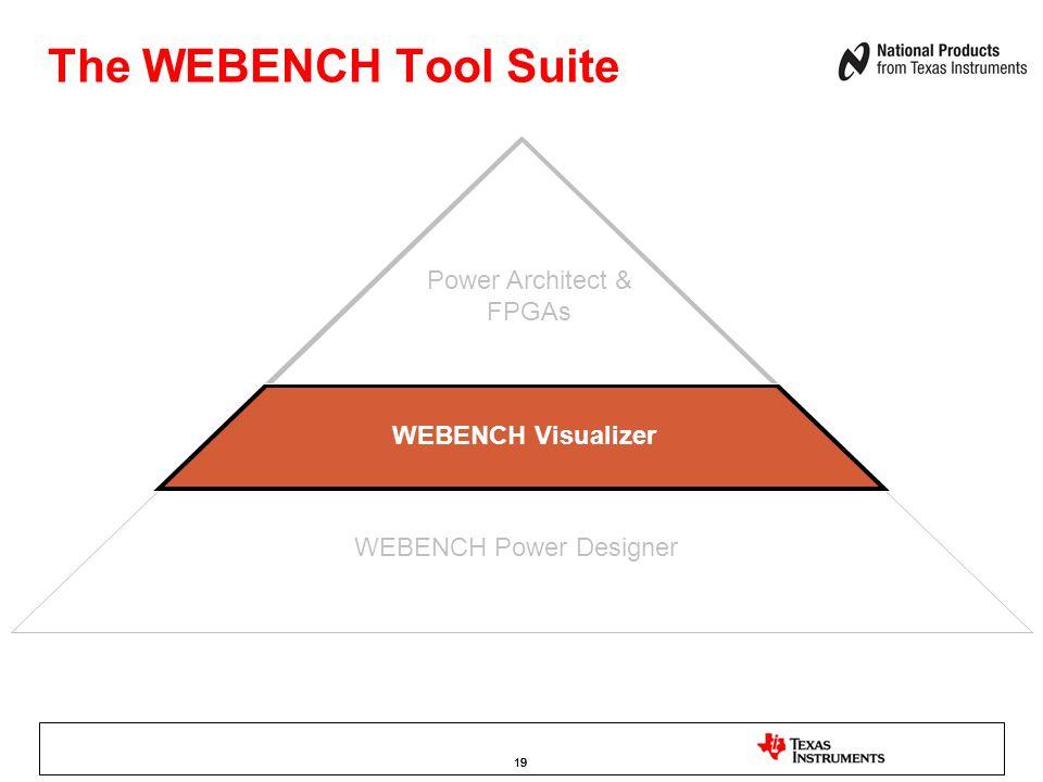 19 WEBENCH Power Designer WEBENCH Visualizer The WEBENCH Tool Suite Power Architect & FPGAs