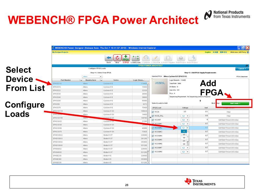 WEBENCH® FPGA Power Architect Add FPGA Select Device From List Configure Loads 28