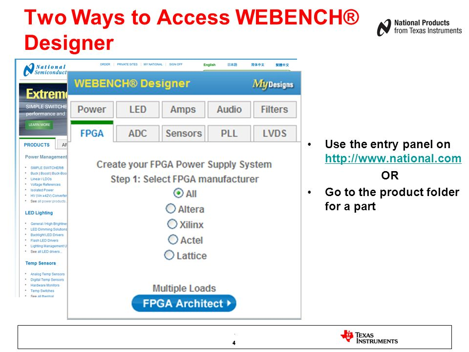 35 WEBENCH® FPGA Architect Leverages The WEBENCH Dashboard Click on Each Supply To Analyze Design