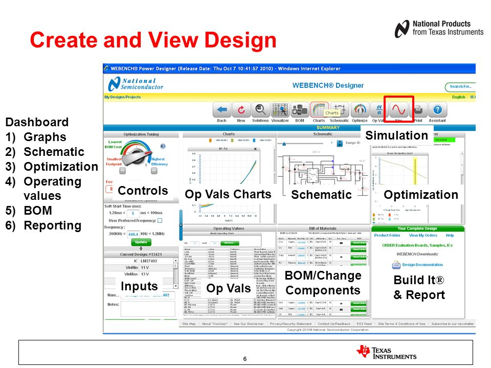 666 Create and View Design Dashboard 1)Graphs 2)Schematic 3)Optimization 4)Operating values 5)BOM 6)Reporting Op Vals Charts SchematicOptimization Bui