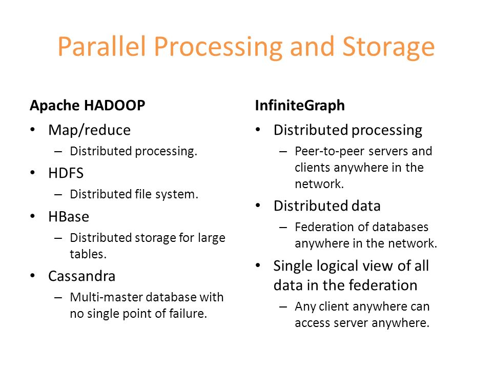 Parallel Processing and Storage Apache HADOOP Map/reduce – Distributed processing. HDFS – Distributed file system. HBase – Distributed storage for lar
