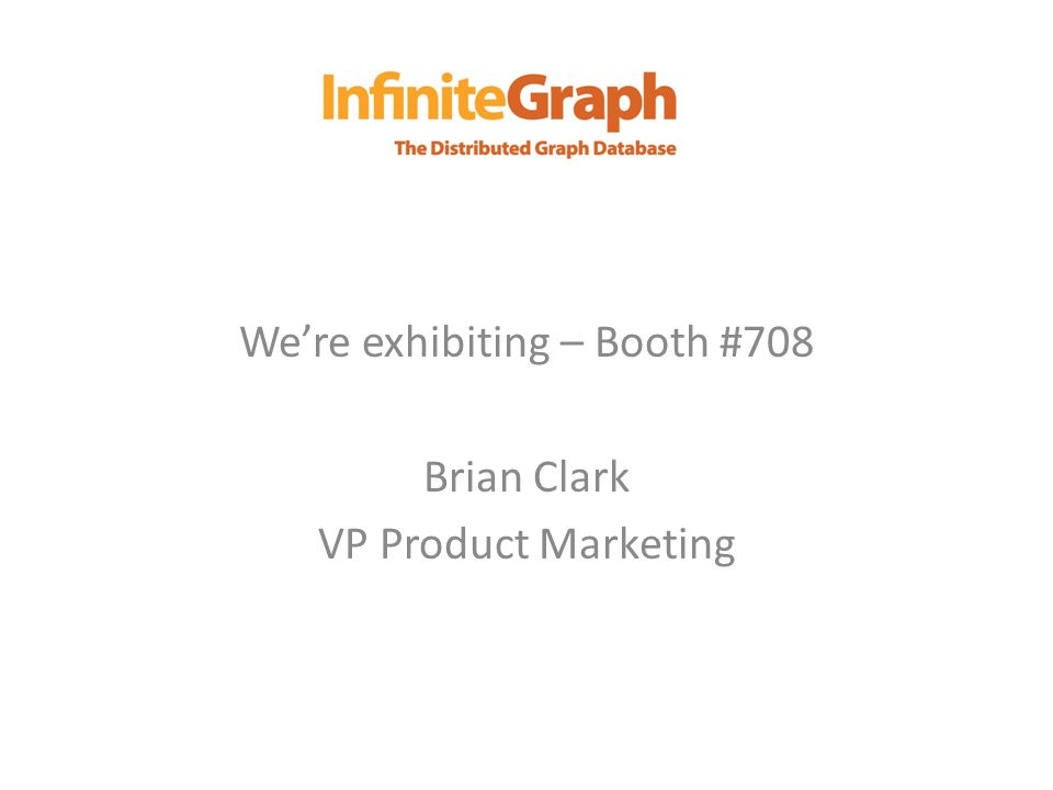 Were exhibiting – Booth #708 Brian Clark VP Product Marketing