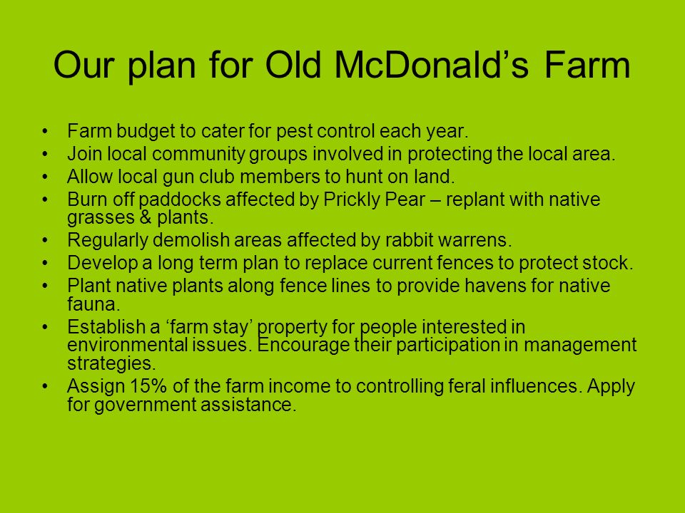 Our plan for Old McDonalds Farm Farm budget to cater for pest control each year.