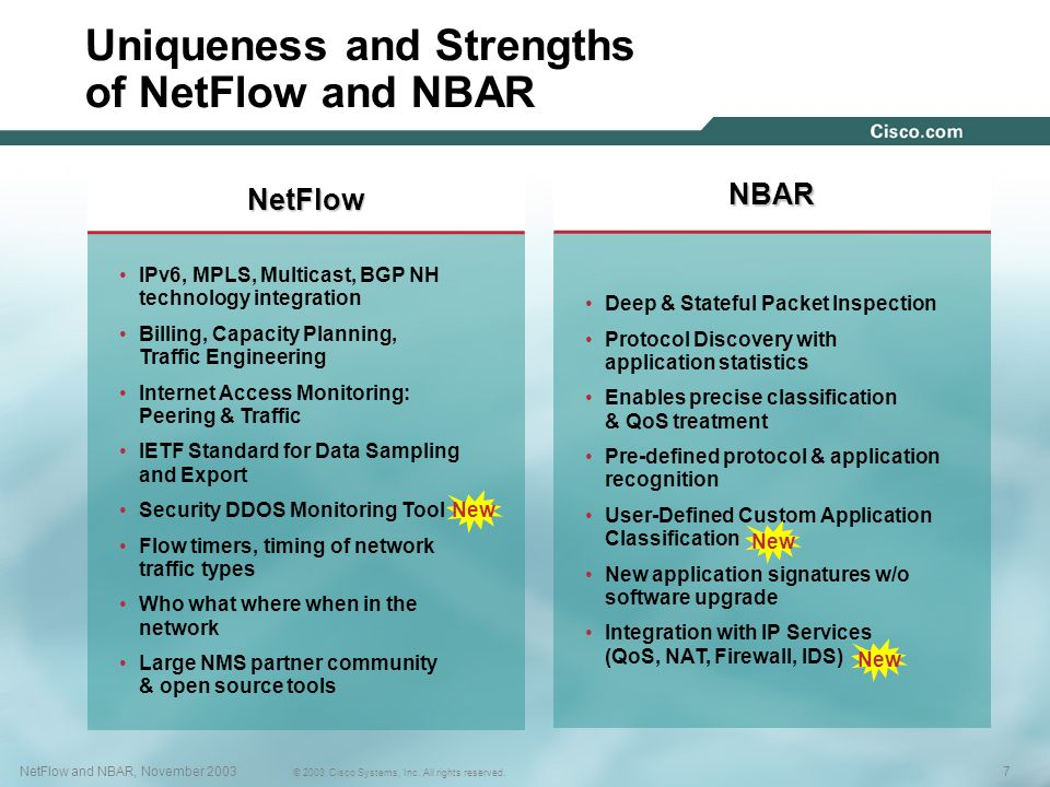 7NetFlow and NBAR, November 2003 © 2003 Cisco Systems, Inc. All rights reserved. 7NetFlow and NBAR, November 2003 © 2003 Cisco Systems, Inc. All right
