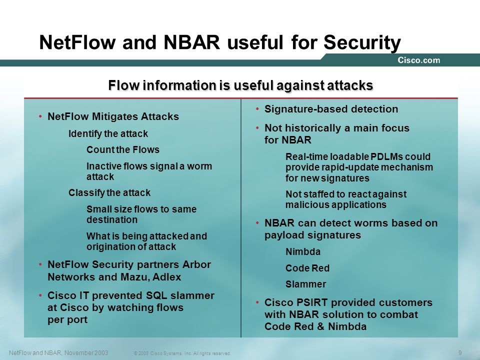 9NetFlow and NBAR, November 2003 © 2003 Cisco Systems, Inc. All rights reserved. NetFlow and NBAR useful for Security 9NetFlow and NBAR, November 2003
