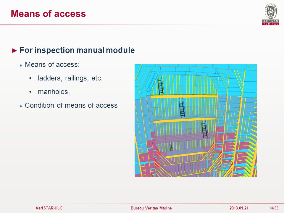 14/33 VeriSTAR-HLC Bureau Veritas Marine 2013.01.21 Means of access For inspection manual module Means of access: ladders, railings, etc. manholes, Co