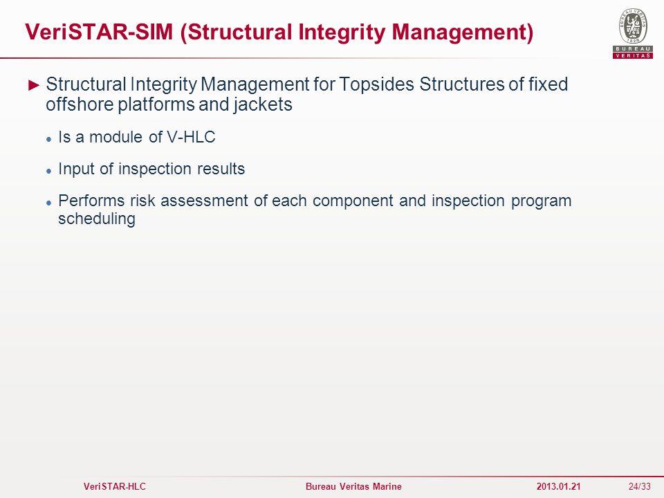 24/33 VeriSTAR-HLC Bureau Veritas Marine 2013.01.21 VeriSTAR-SIM (Structural Integrity Management) Structural Integrity Management for Topsides Struct