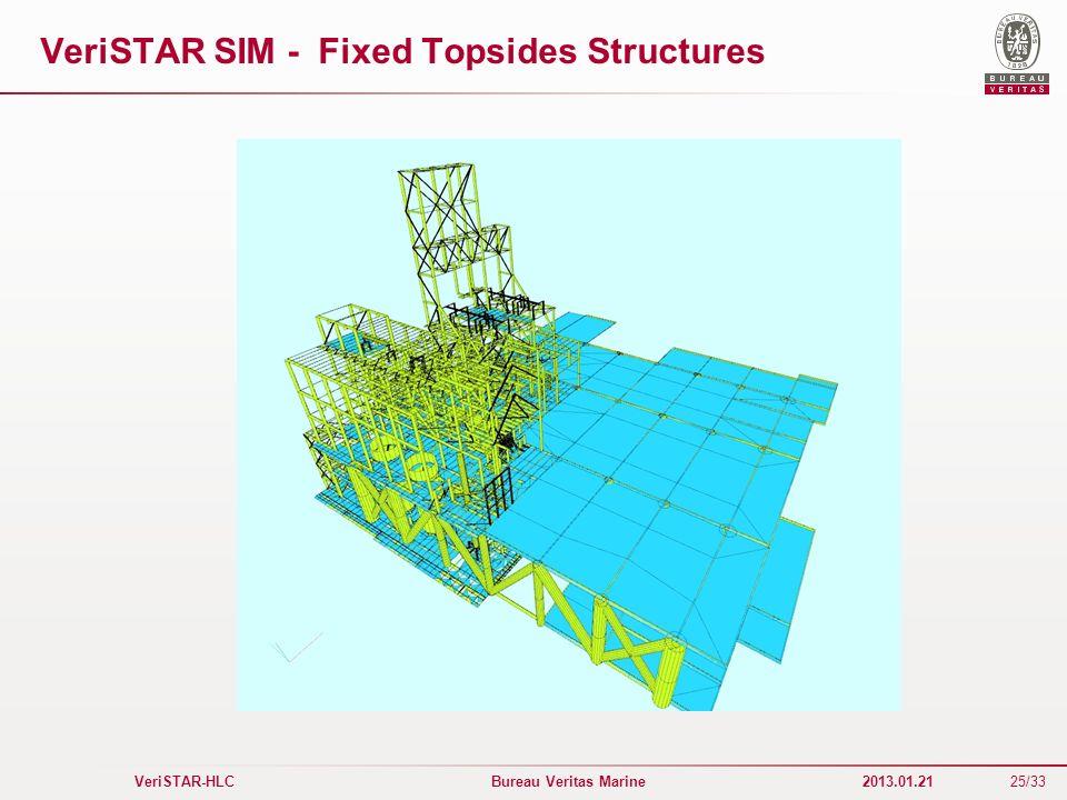 25/33 VeriSTAR-HLC Bureau Veritas Marine 2013.01.21 VeriSTAR SIM - Fixed Topsides Structures