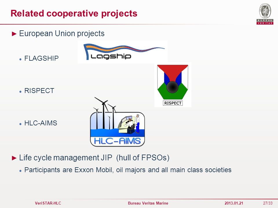 27/33 VeriSTAR-HLC Bureau Veritas Marine 2013.01.21 Related cooperative projects European Union projects FLAGSHIP RISPECT HLC-AIMS Life cycle manageme
