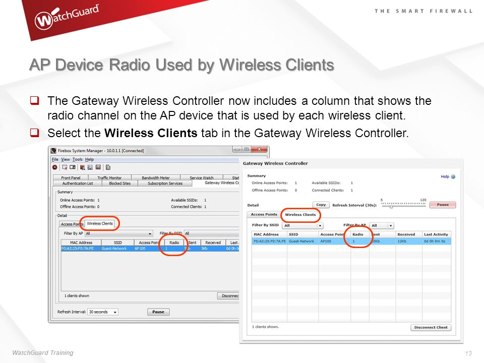 AP Device Radio Used by Wireless Clients The Gateway Wireless Controller now includes a column that shows the radio channel on the AP device that is u